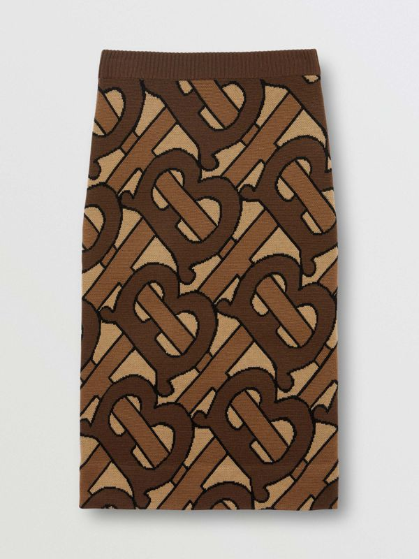 Monogram Intarsia Wool Pencil Skirt in Bridle Brown - Women | Burberry Australia - cell image 3