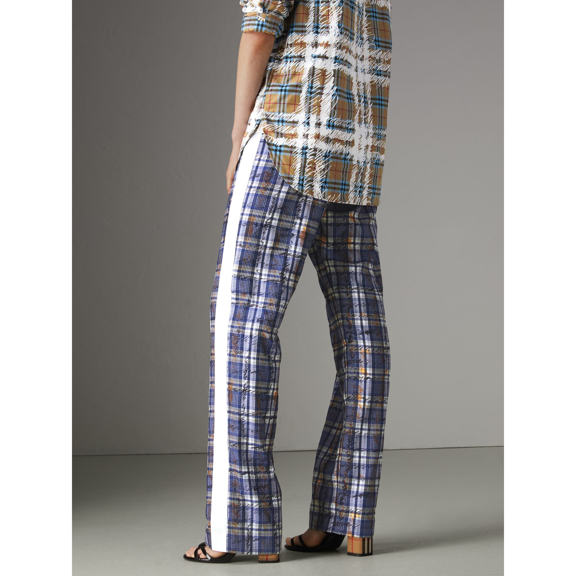 Stripe Detail Scribble Check Silk Tailored Track Pants in Navy/white - Women | Burberry Australia - gallery image 2
