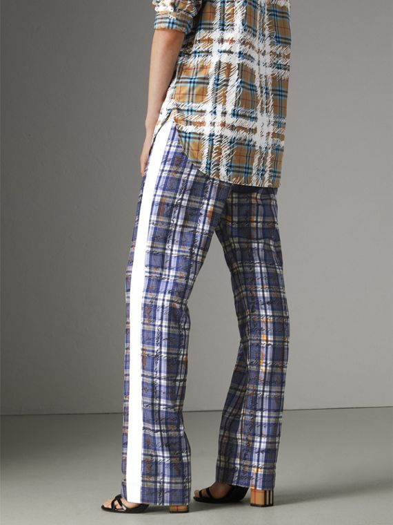 Stripe Detail Scribble Check Silk Tailored Track Pants in Navy/white - Women | Burberry Australia - cell image 2