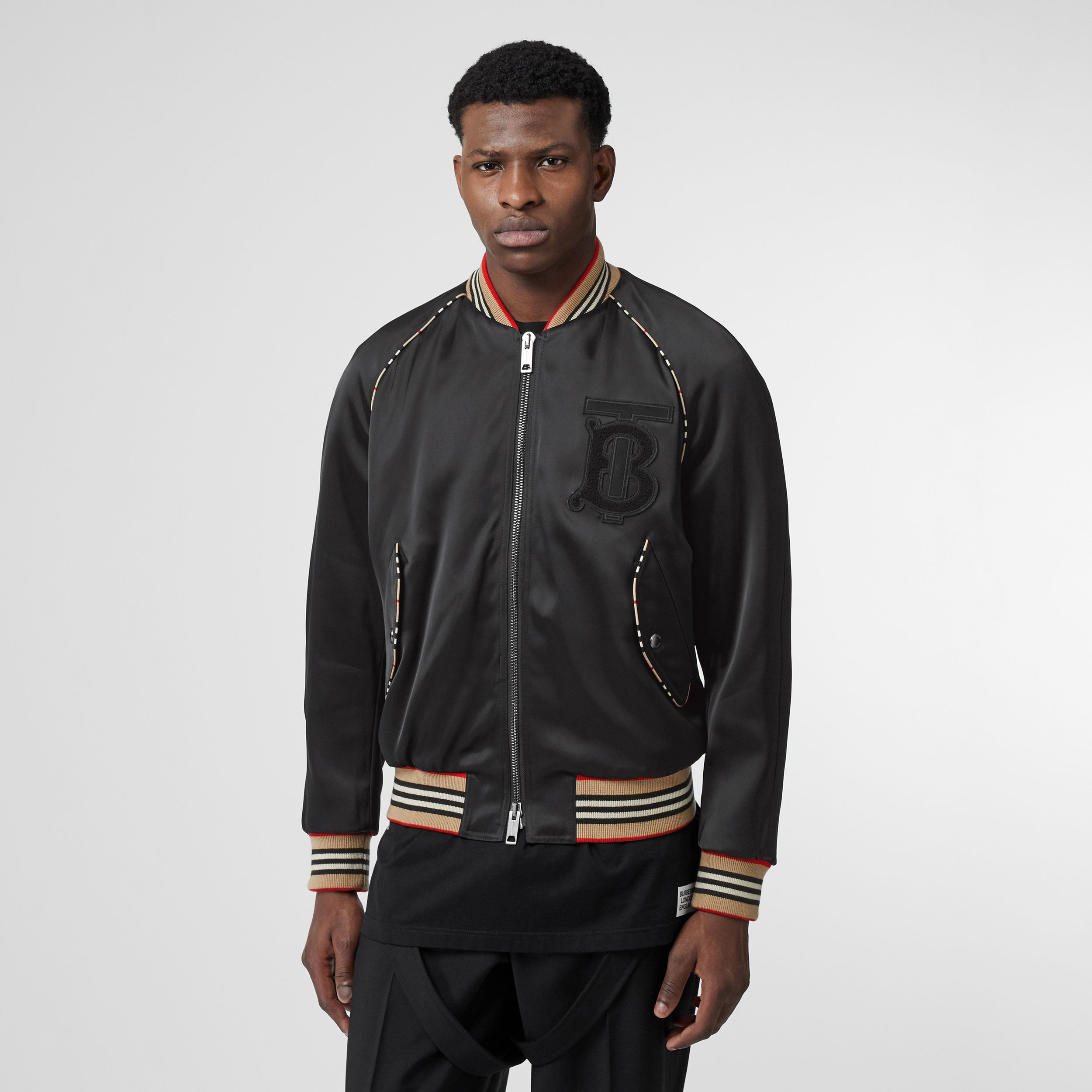 Icon Stripe Detail Monogram Motif Bomber Jacket in Black - Men | Burberry - 1