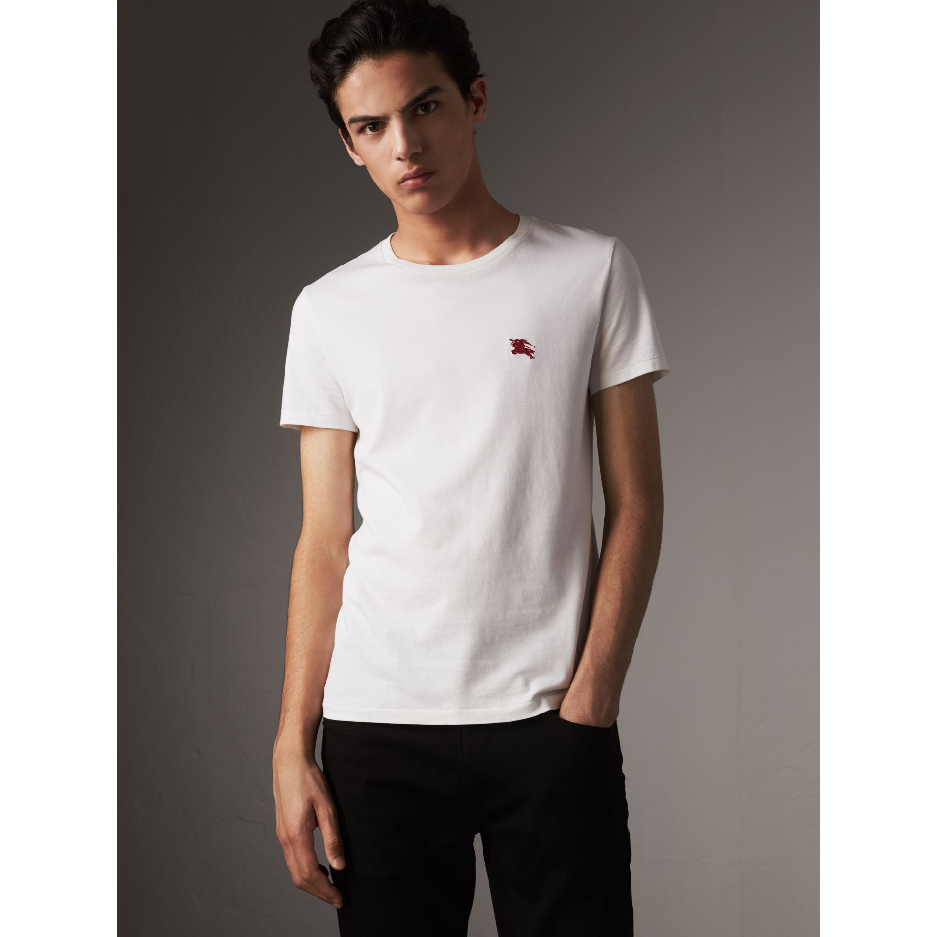 Cotton Jersey T-shirt in Optic White - Men | Burberry United States - gallery image 0