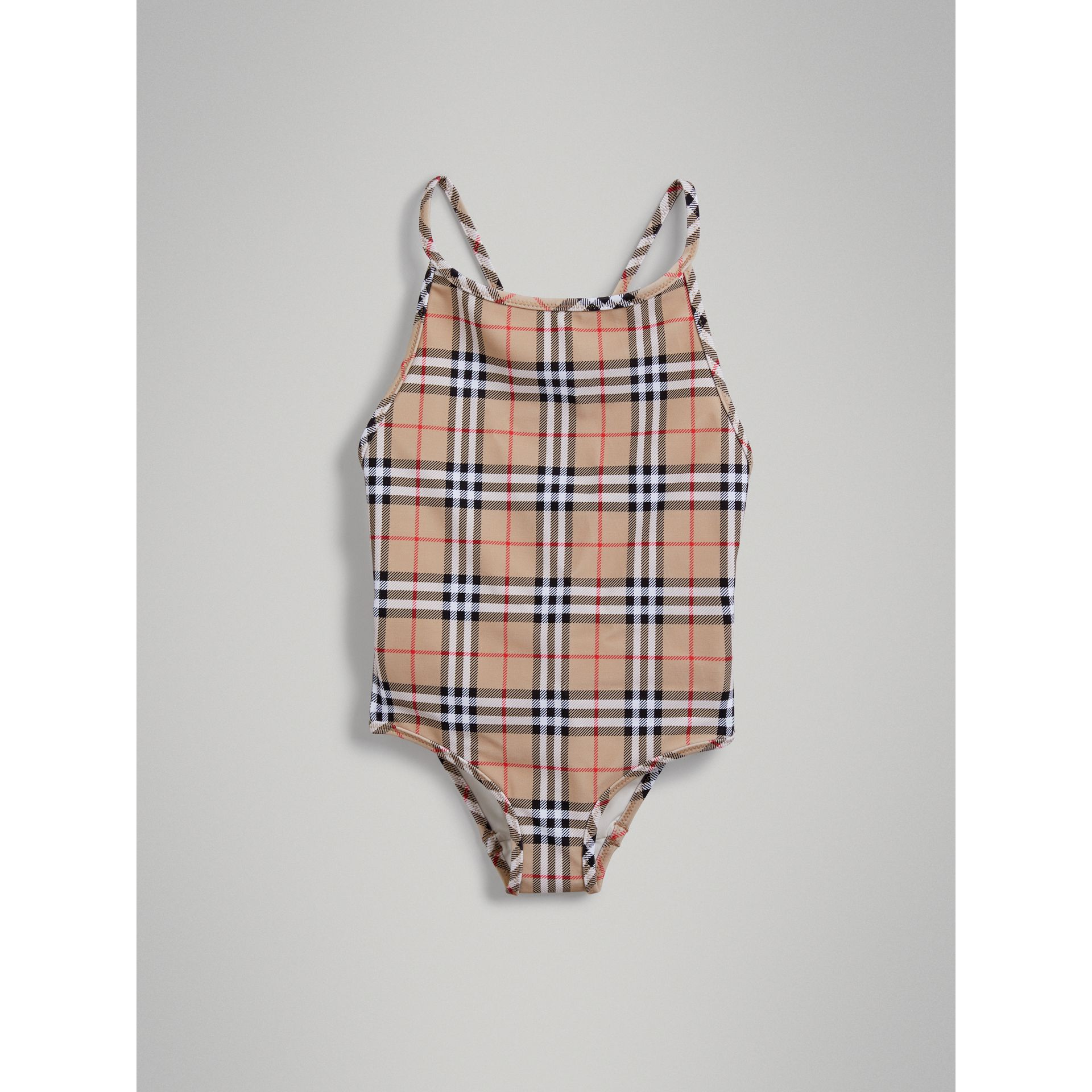 Vintage Check One-piece Swimsuit in Camel - Girl | Burberry - gallery image 2