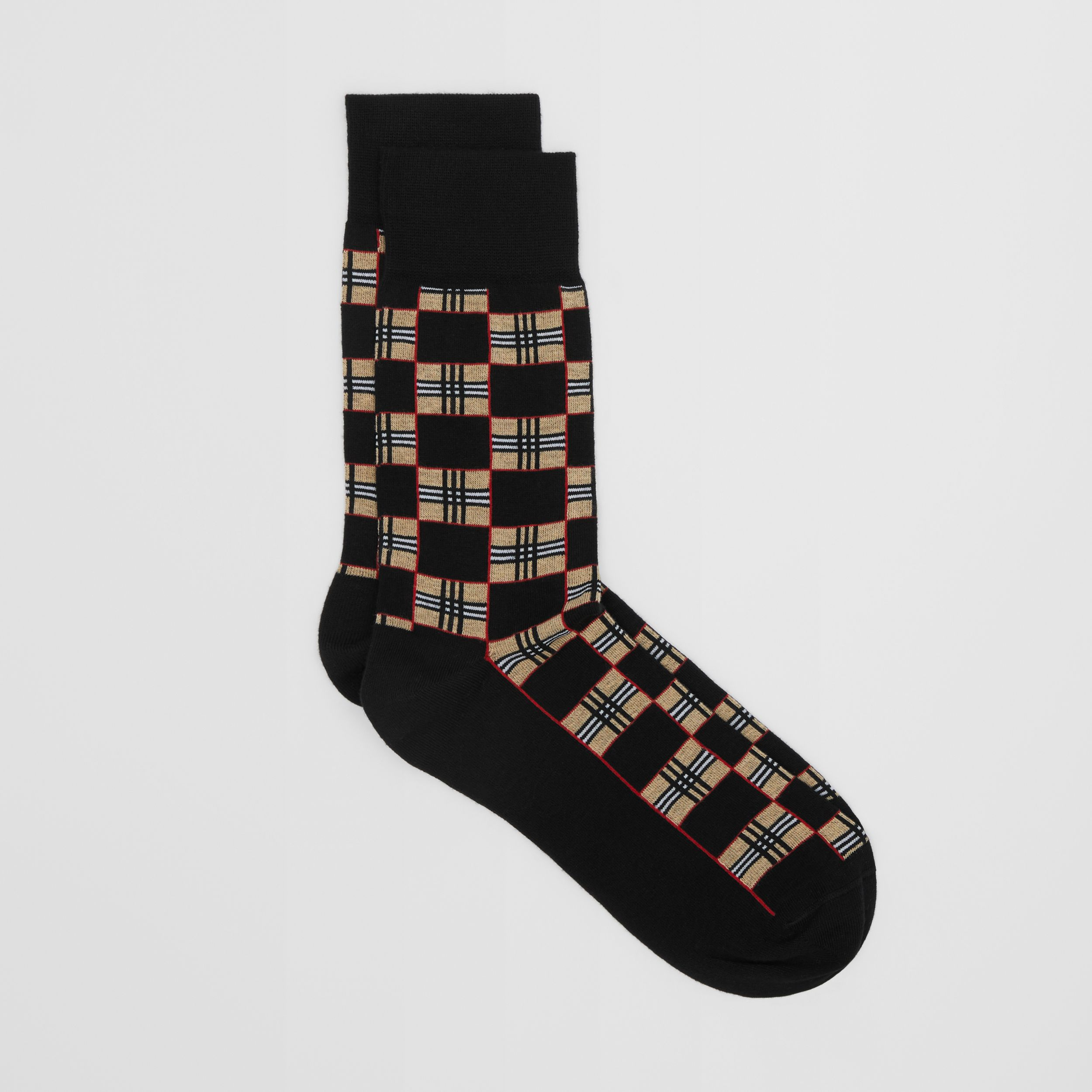 Chequer Cotton Blend Socks in Black | Burberry Singapore - 3