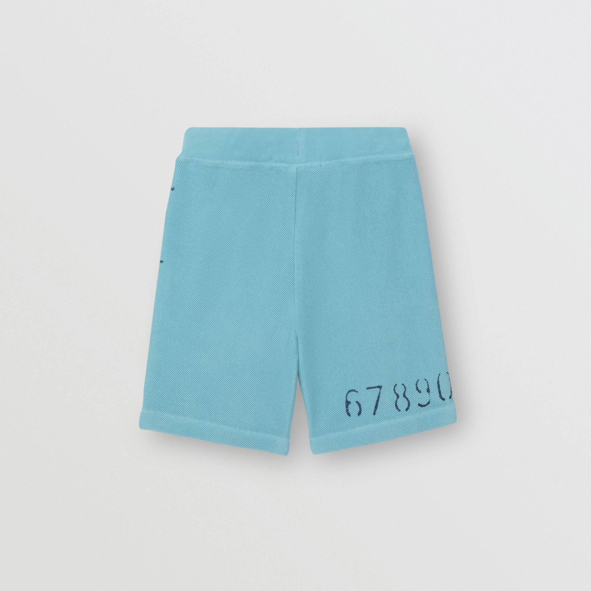 Stencil Logo Print Cotton Drawcord Shorts in Bright Cyan Blue - Children | Burberry - gallery image 3