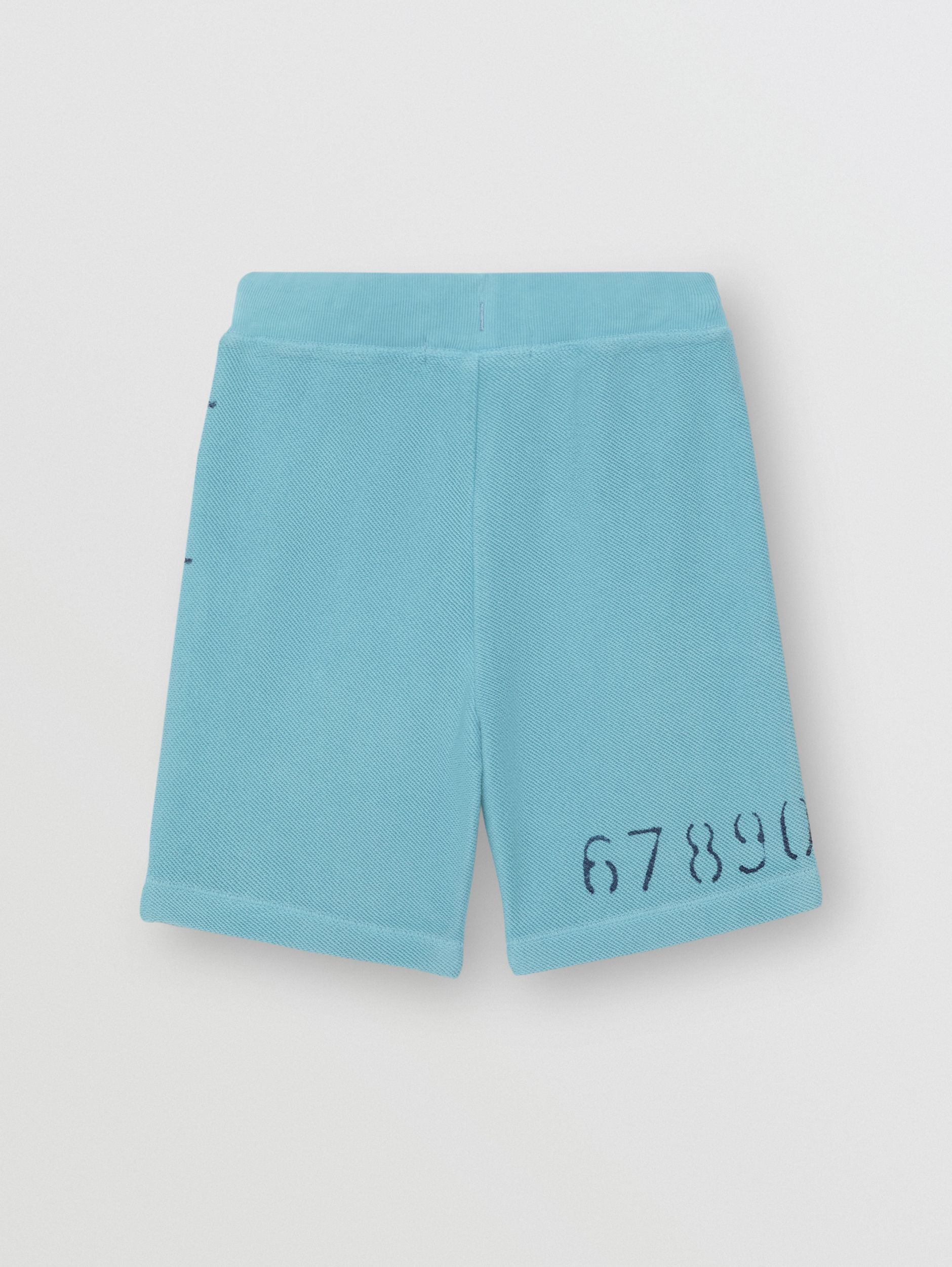 Stencil Logo Print Cotton Drawcord Shorts in Bright Cyan Blue - Children | Burberry - 4