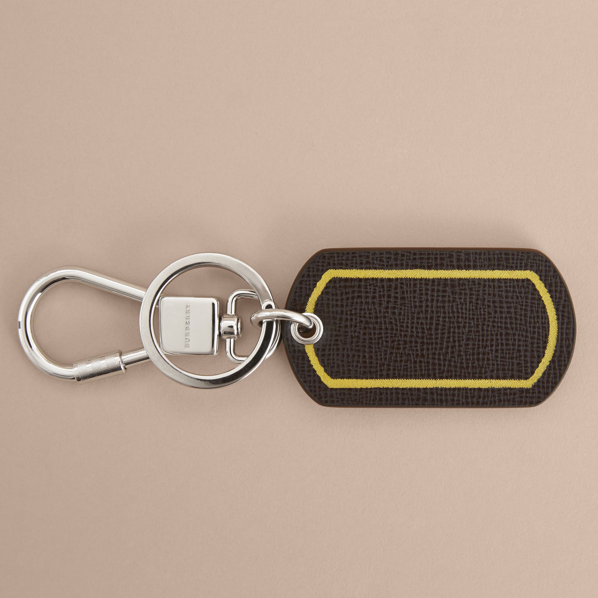 Border Detail London Leather Key Charm - gallery image 3