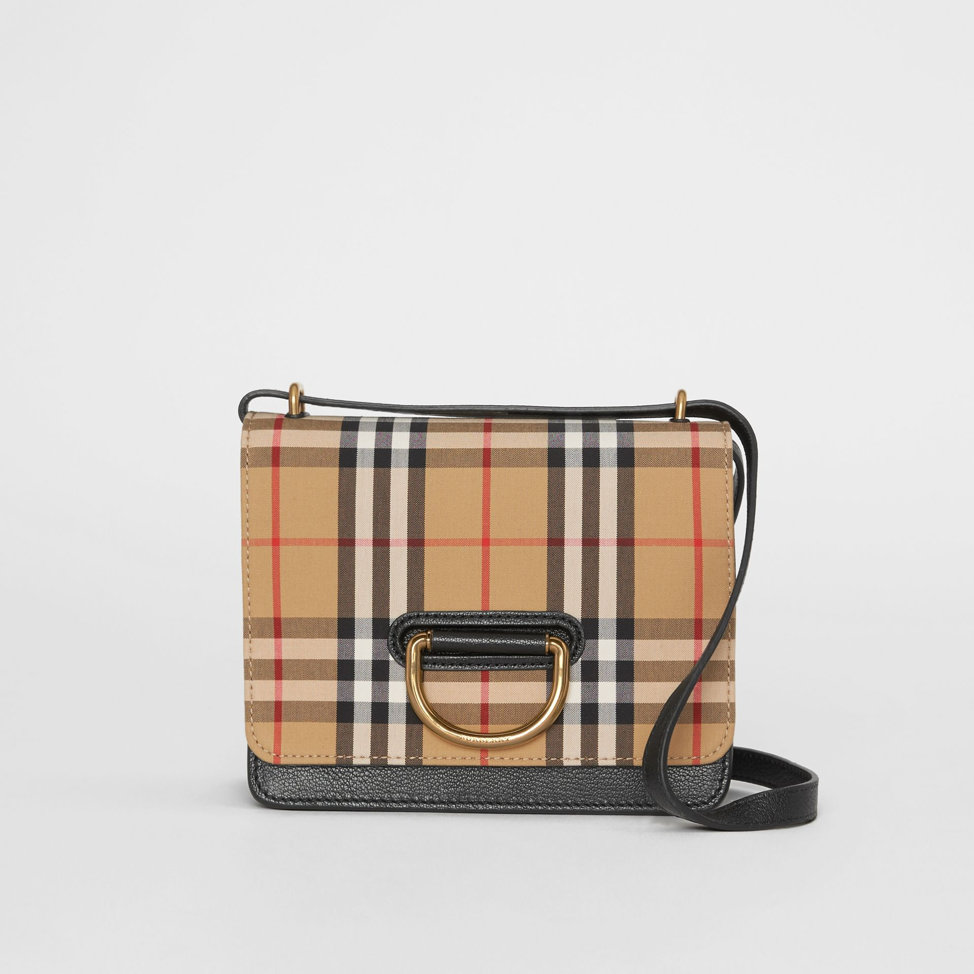 The Small Vintage Check and Leather D-ring Bag in Black/antique Yellow - Women | Burberry United Kingdom - gallery image 0
