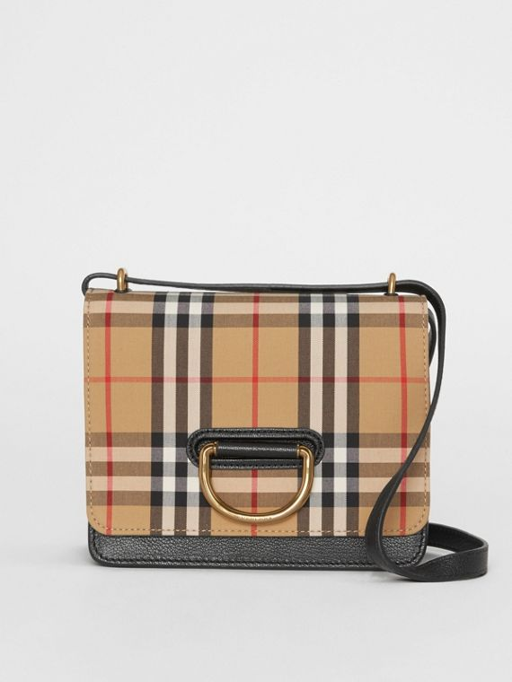 The Small Vintage Check and Leather D-ring Bag in Black/antique Yellow