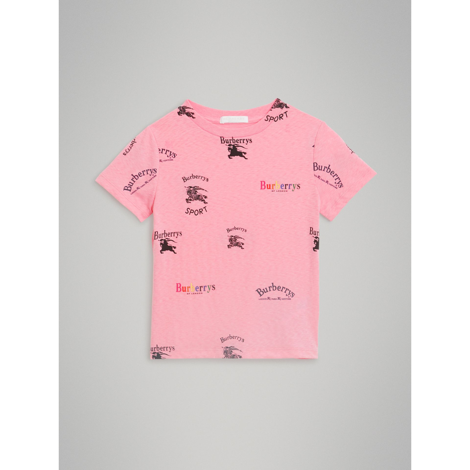Archive Logo Print Jersey T-shirt in Neon Pink - Girl | Burberry - gallery image 0
