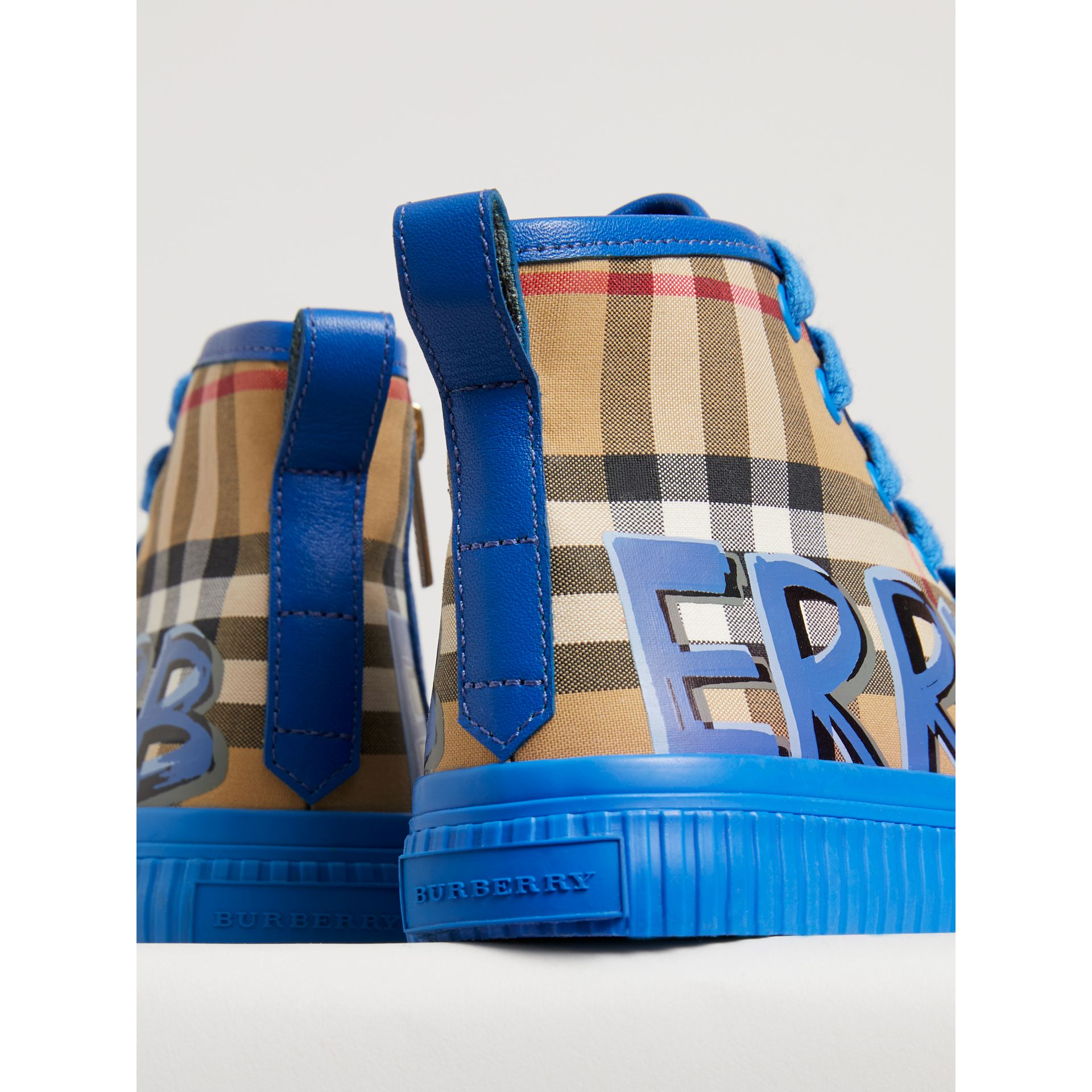 Graffiti Vintage Check High-top Sneakers in Bright Sky Blue | Burberry Singapore - gallery image 1