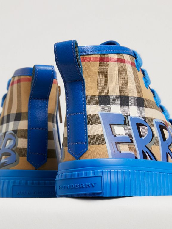 Graffiti Vintage Check High-top Sneakers in Bright Sky Blue | Burberry - cell image 1