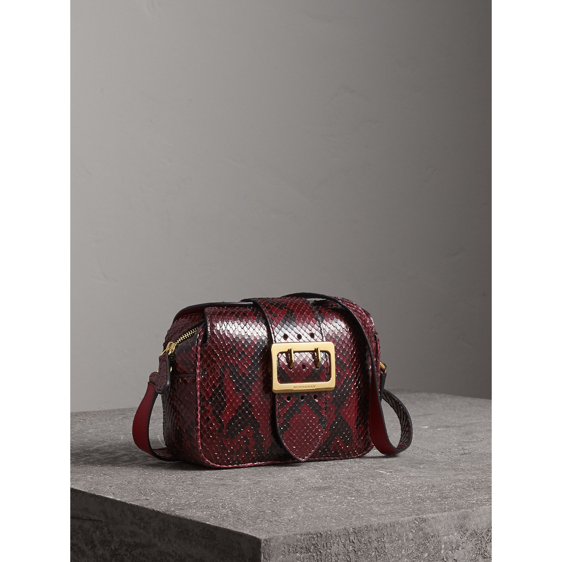 The Small Buckle Crossbody Bag in Python in Burgundy Red - Women | Burberry - gallery image 5
