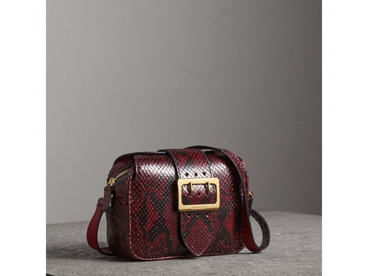 The Small Buckle Crossbody Bag in Python in Burgundy Red - Women | Burberry - cell image 4