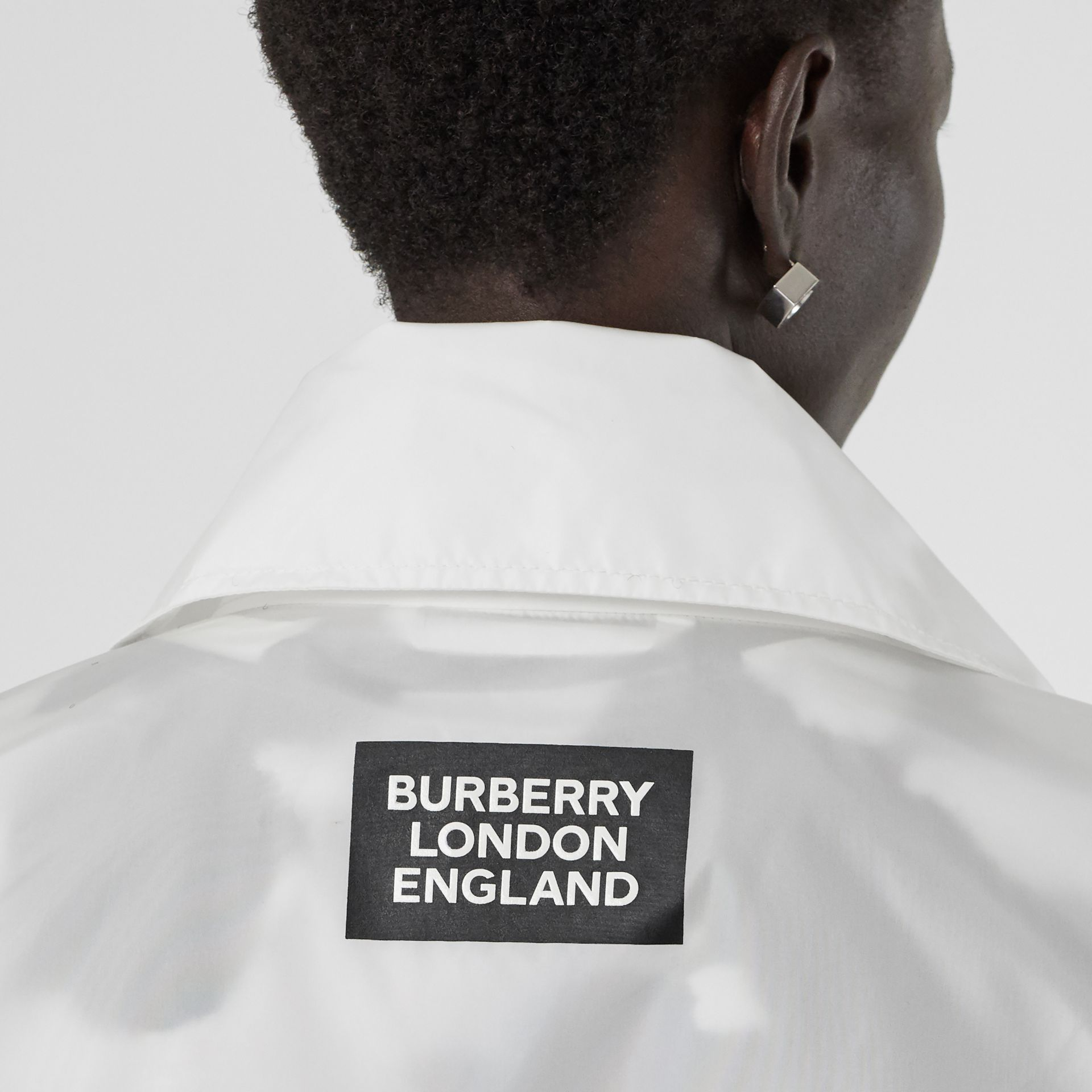 Drawcord Detail Logo Print Lightweight Jacket in White - Women | Burberry - gallery image 2