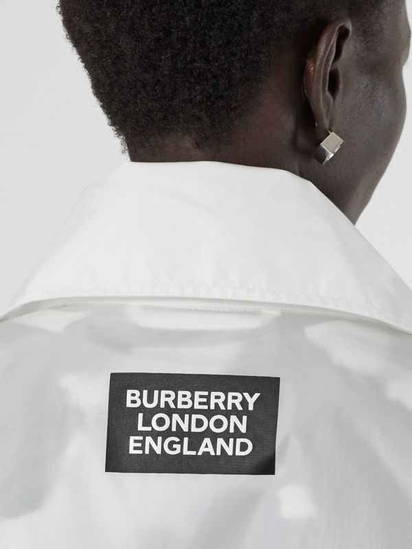 Drawcord Detail Logo Print Lightweight Jacket in White - Women | Burberry - cell image 2