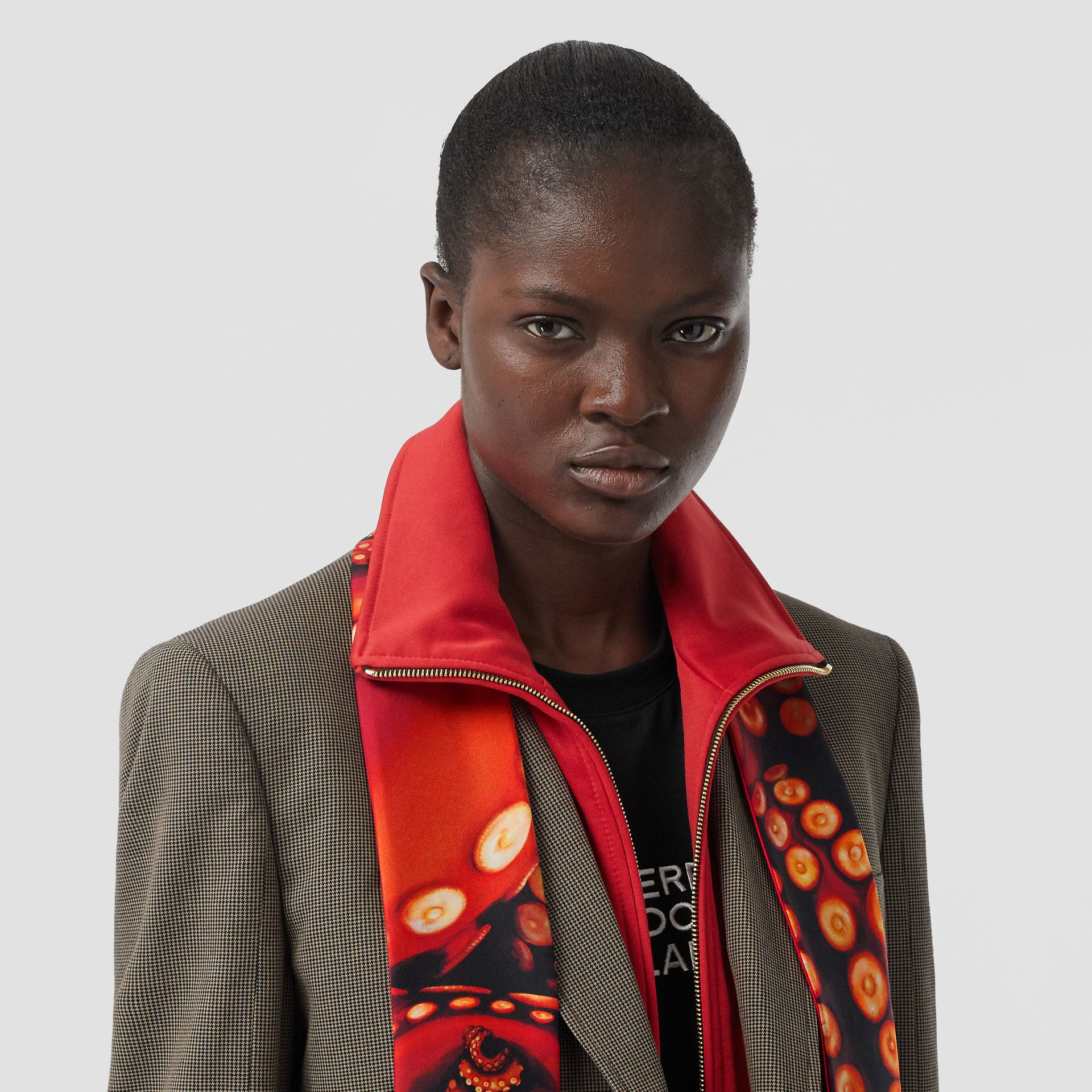 Octopus and Logo Graphic Print Silk Skinny Scarf in Coral Red | Burberry - gallery image 2
