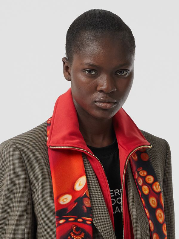 Octopus and Logo Graphic Print Silk Skinny Scarf in Coral Red | Burberry - cell image 2
