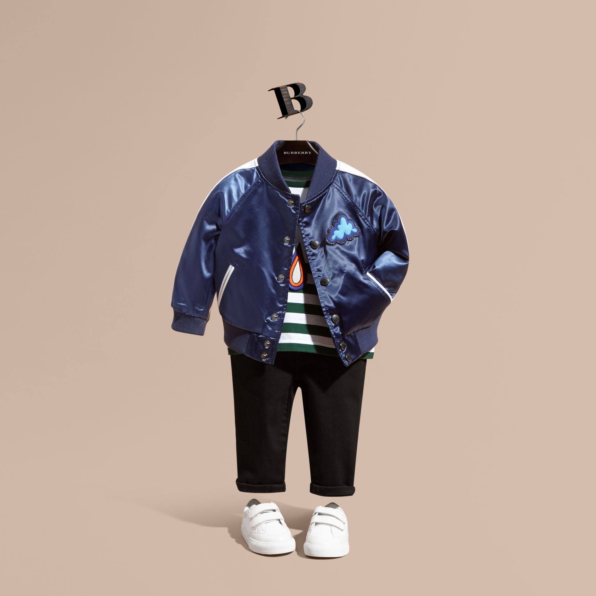Bright navy Weather Appliqué Satin Bomber Jacket - gallery image 1