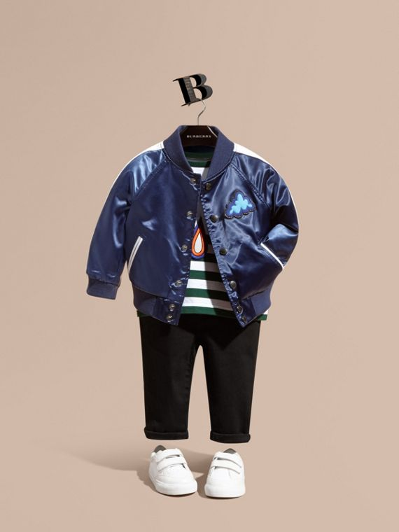 Weather Appliqué Satin Bomber Jacket
