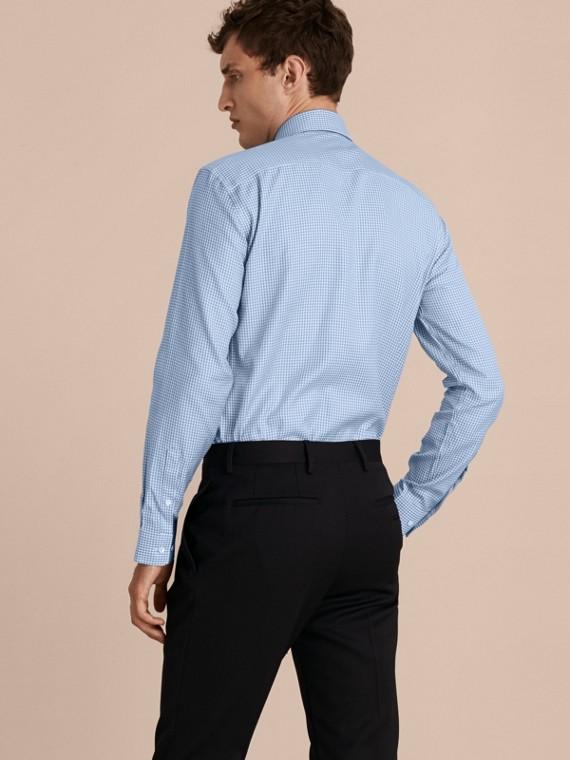 Bleu moyen Chemise moderne en coton à motif check avec col boutonné Bleu Moyen - cell image 2