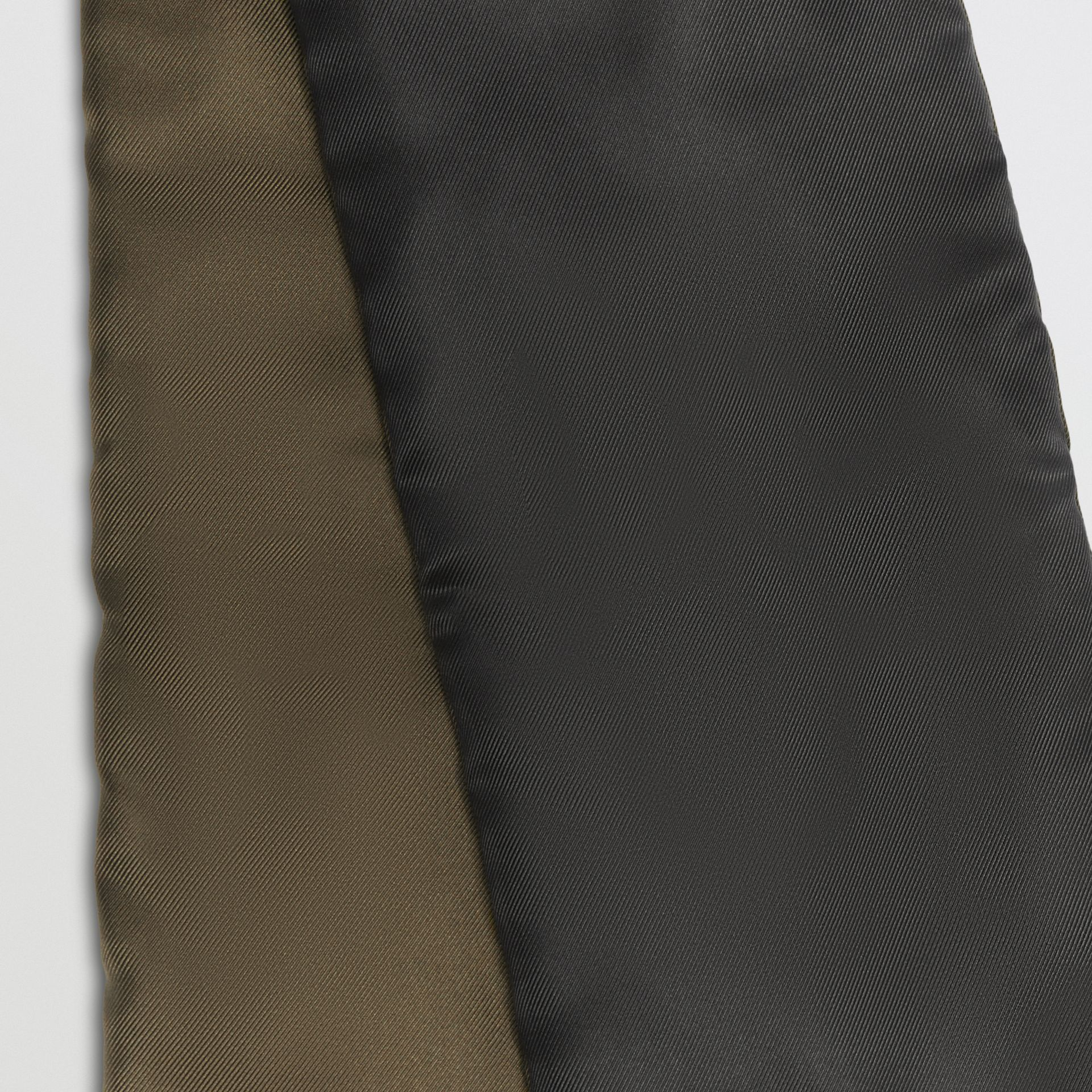 Two-tone Silk Puffer Scarf in Dark Olive | Burberry - gallery image 1