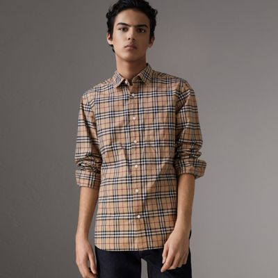 Alexander Check Light Cotton Twill Shirt in Neutrals