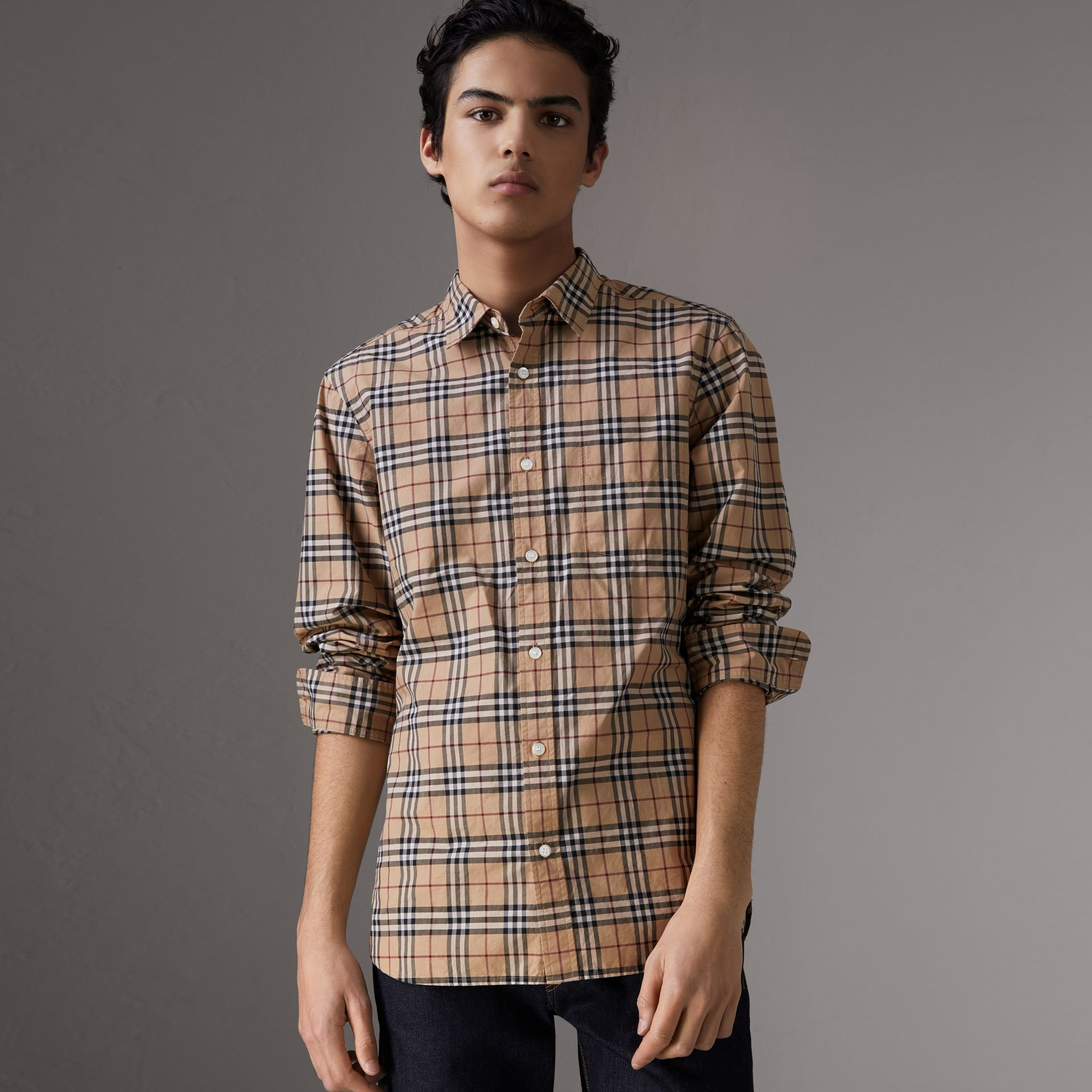 Check Cotton Shirt in Camel - Men | Burberry - gallery image 1