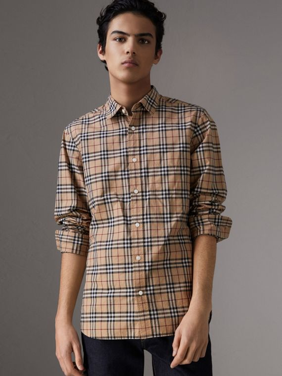 Check Cotton Shirt in Camel