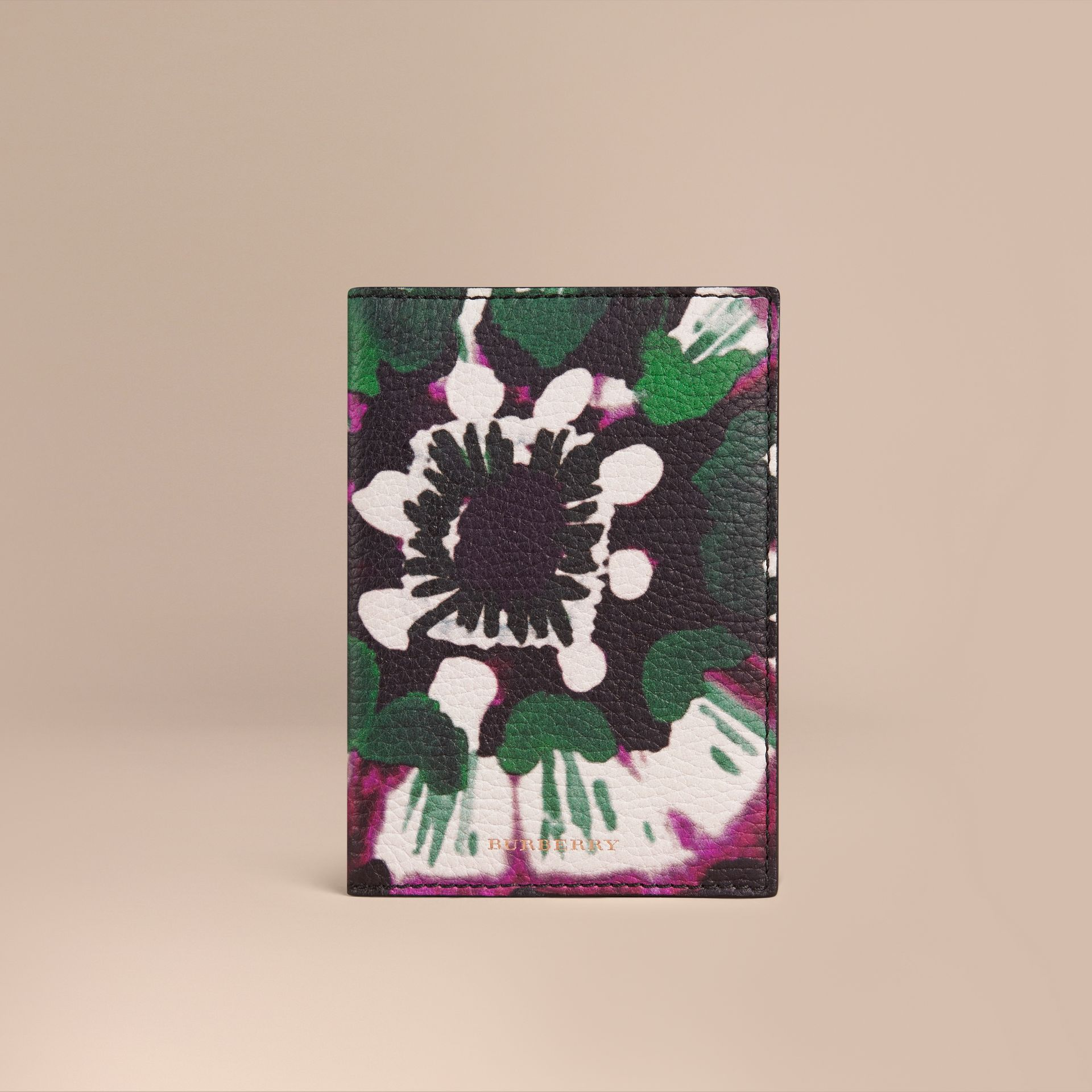 Deep claret Tie-dye Print Grainy Leather Passport Cover - gallery image 1