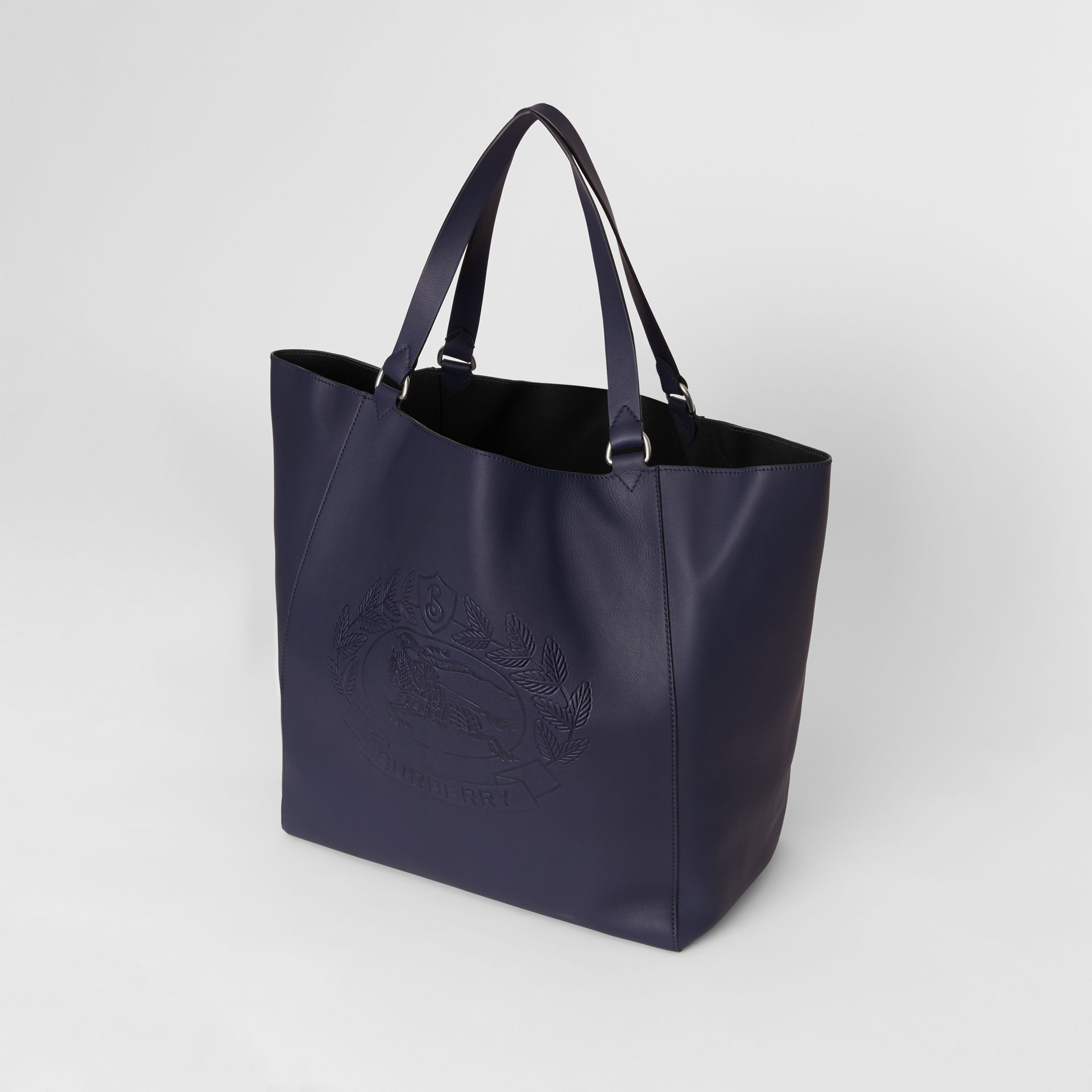 Large Embossed Crest Bonded Leather Tote in Regency Blue - Men | Burberry United States - gallery image 4