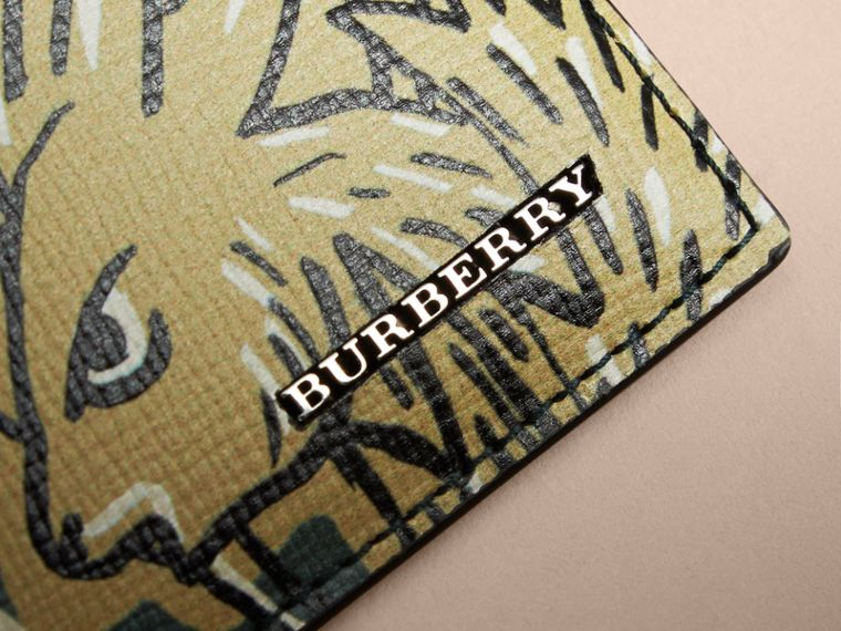 Beasts Print Leather Card Case in Sage Green - Men | Burberry - cell image 1