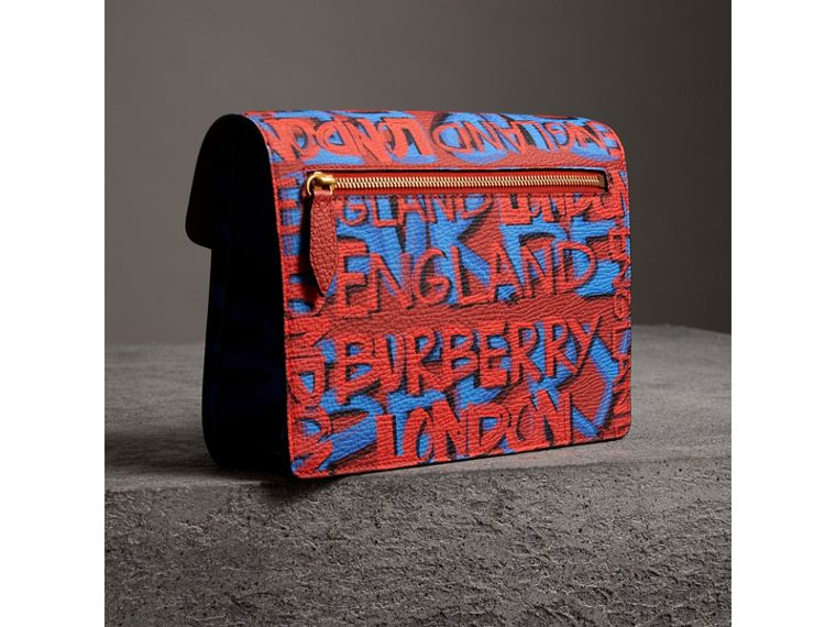 Small Graffiti Print Leather Crossbody Bag in Black - Women | Burberry United Kingdom - cell image 4