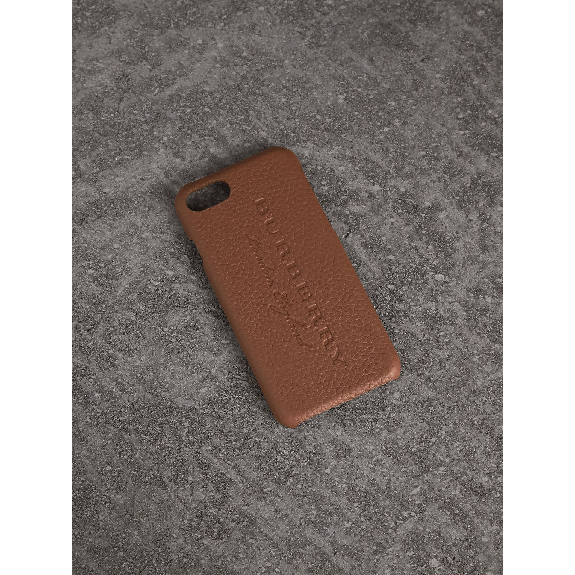 London Leather iPhone 7 Case in Chestnut Brown | Burberry - gallery image 0