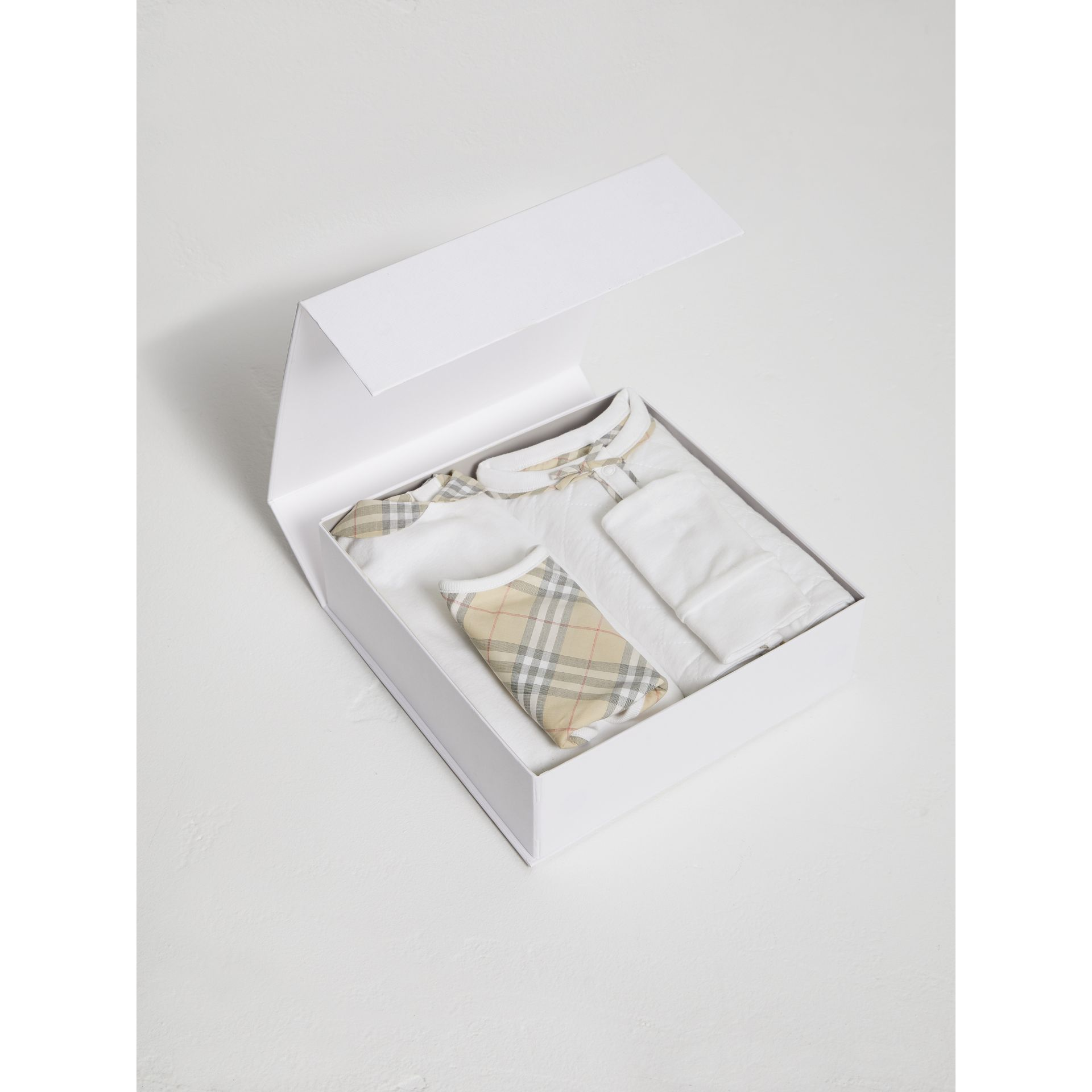 Check Detail Four-piece Baby Gift Set in White - Children | Burberry - gallery image 2
