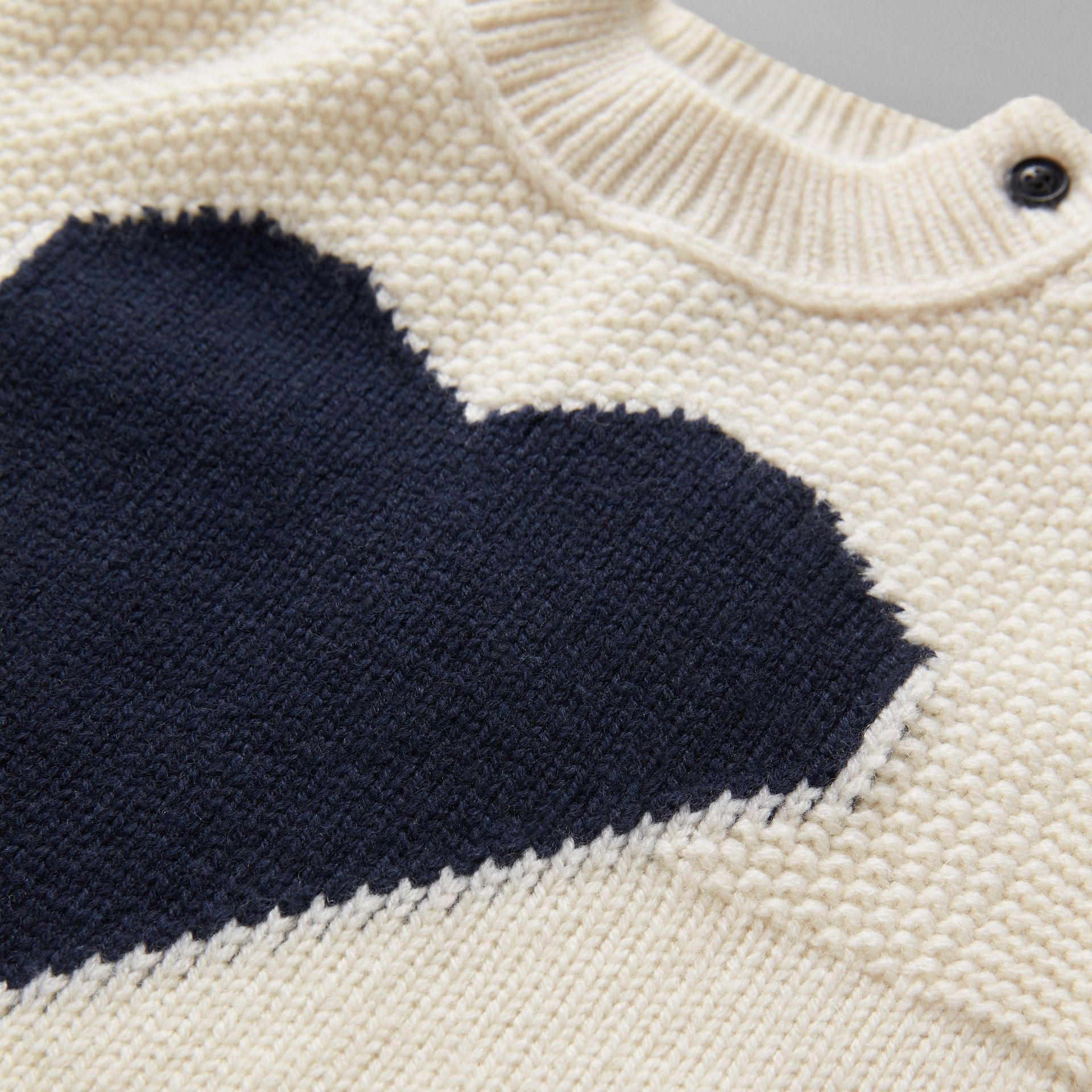 Heart Intarsia Wool Cashmere Sweater in Ivory - Children | Burberry - gallery image 1