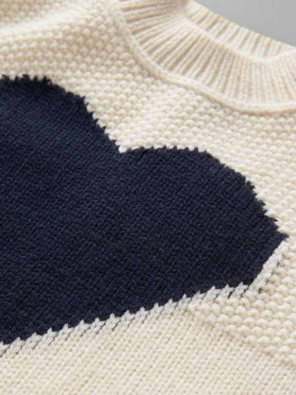 Heart Intarsia Wool Cashmere Sweater in Ivory - Children | Burberry - cell image 1