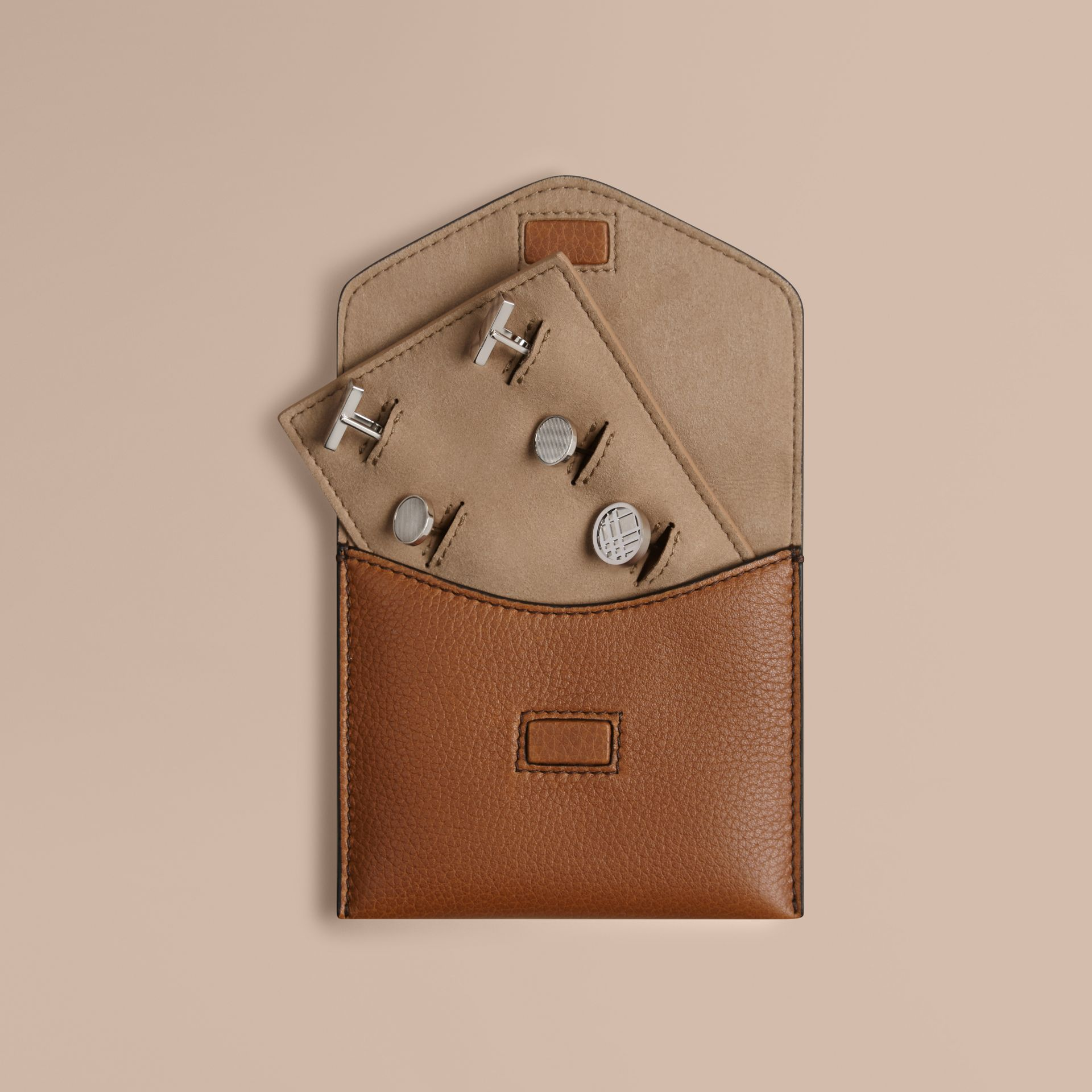 Grainy Leather Cufflink Case in Tan - Men | Burberry Canada - gallery image 1
