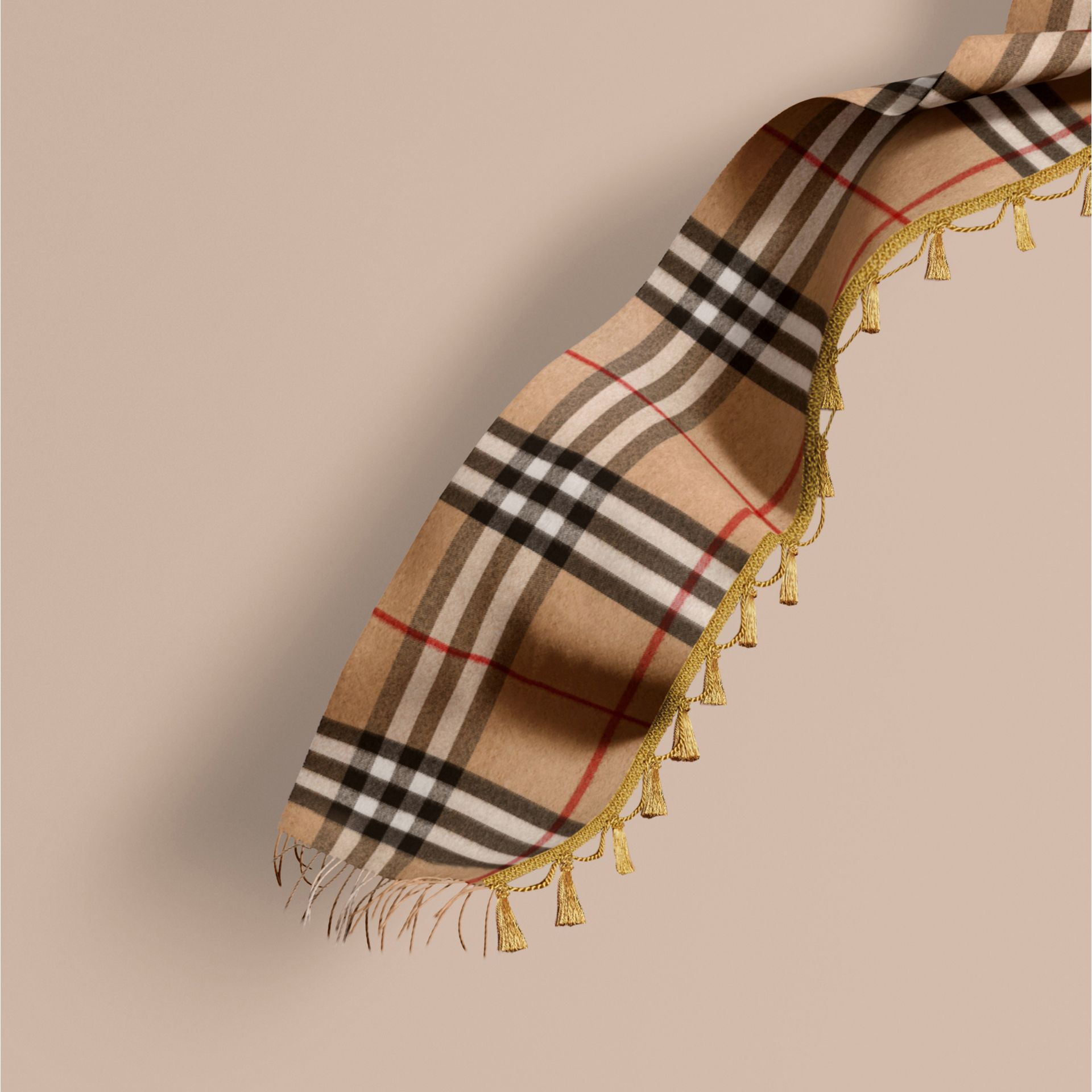 Camel The Classic Cashmere Scarf in Check with tassels - gallery image 1