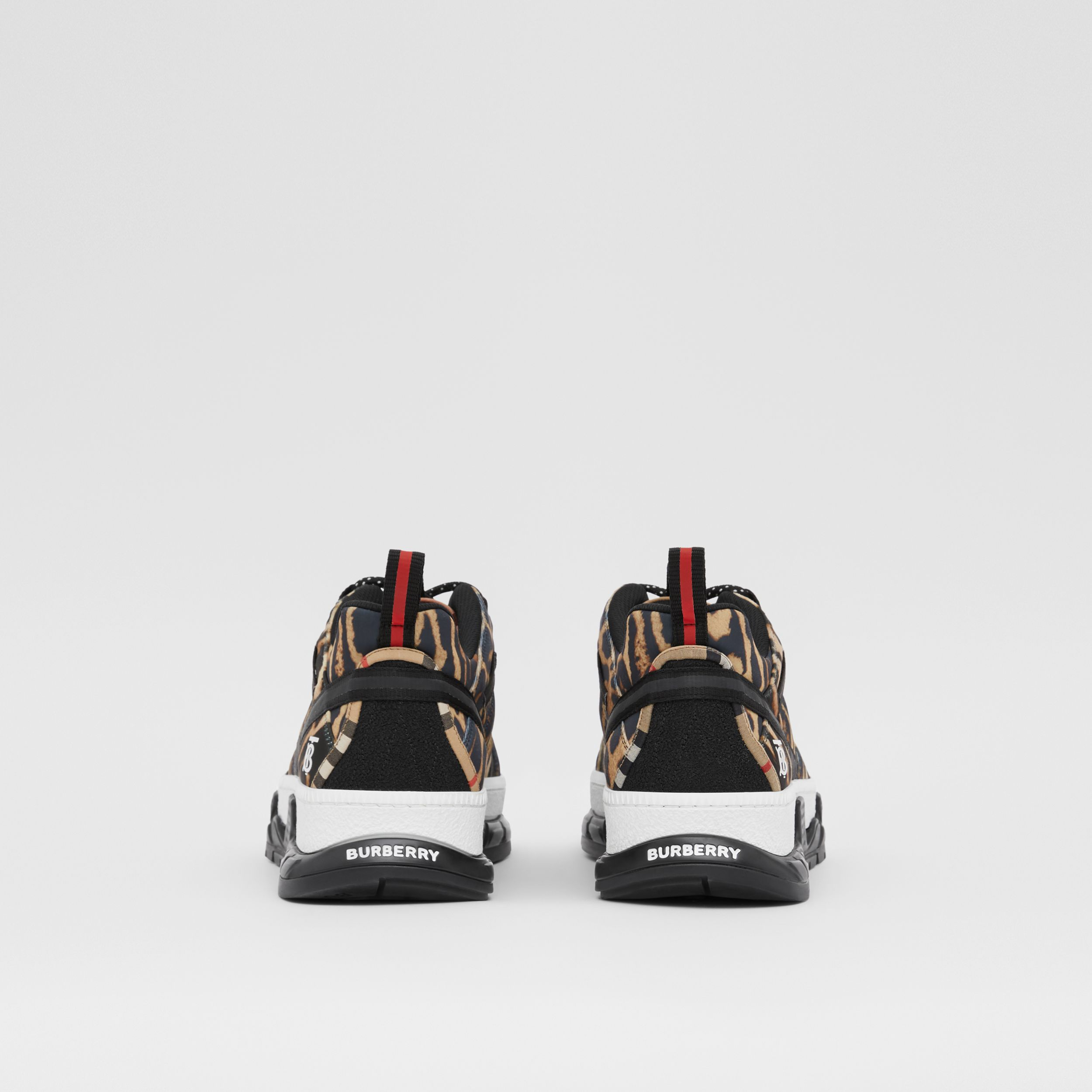 Leopard Print Neoprene and Cotton Union Sneakers in Archive Beige - Men | Burberry - 4