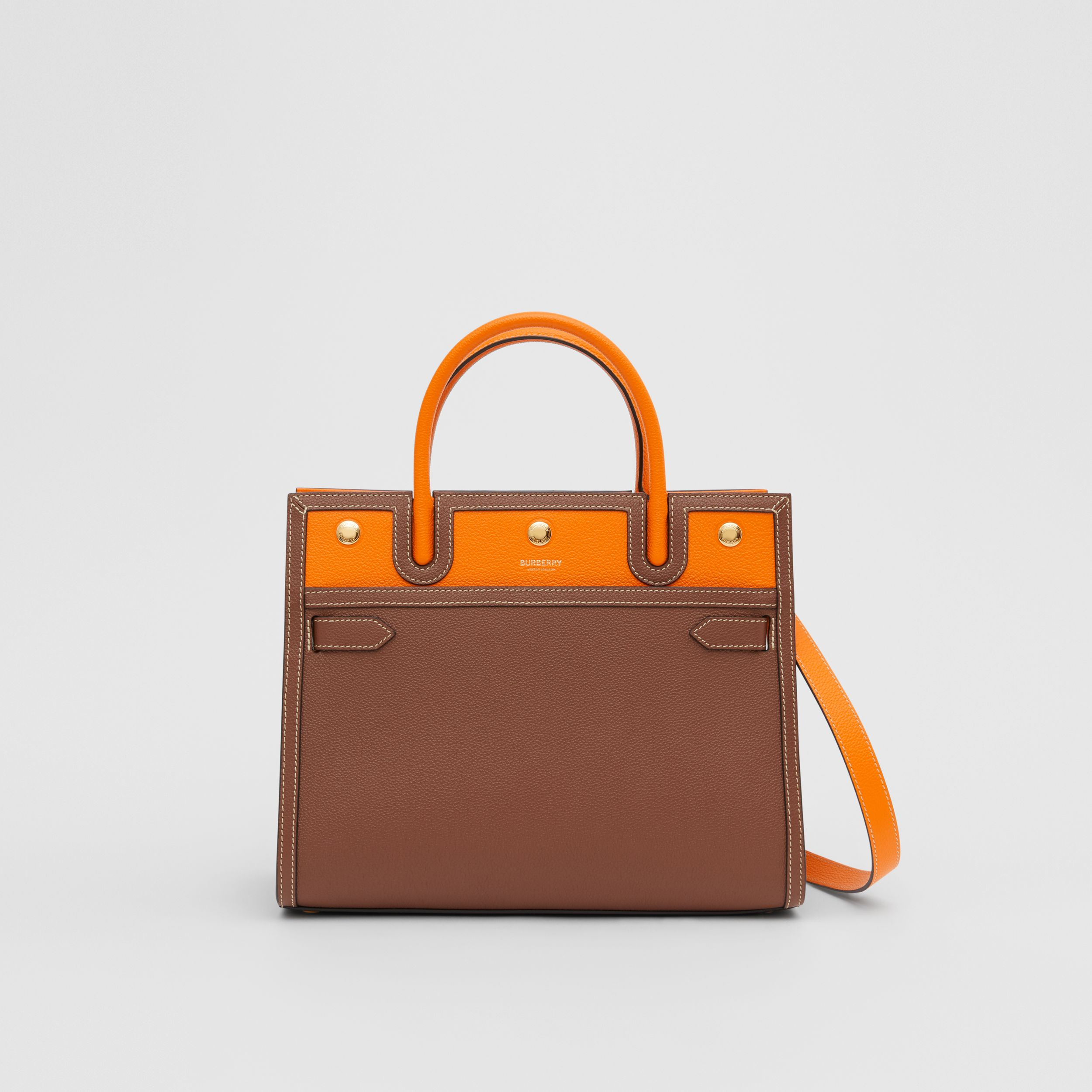 Small Leather Two-handle Title Bag in Tan/bright Orange - Women | Burberry - 1