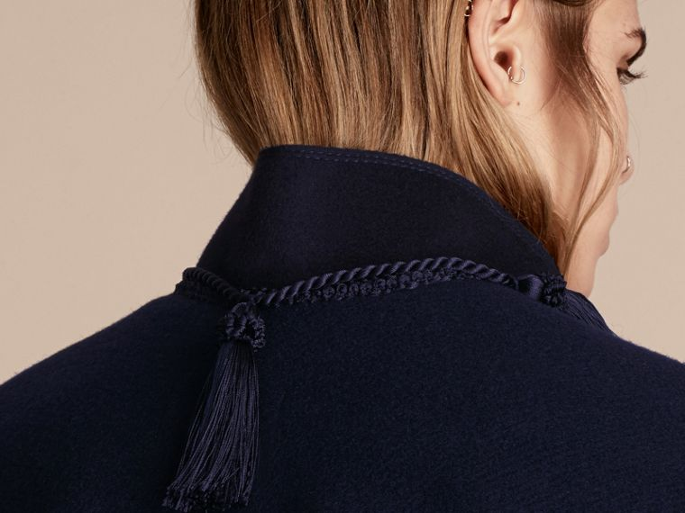 Navy Wool Cashmere Poncho with Tassels - cell image 4
