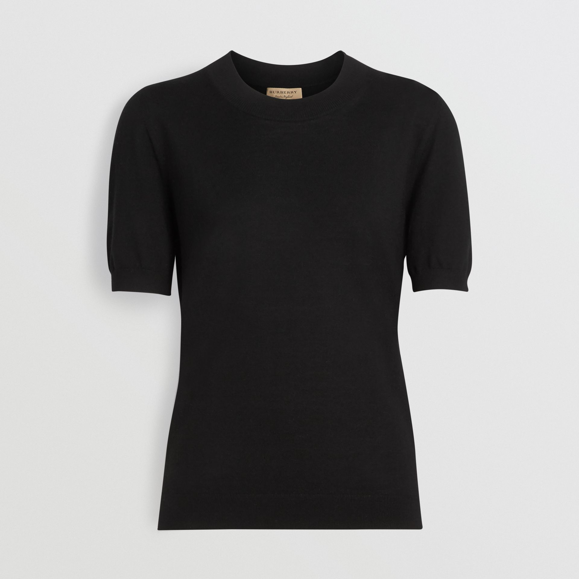 Crew Neck Merino Wool Sweater in Black - Women | Burberry Australia - gallery image 3