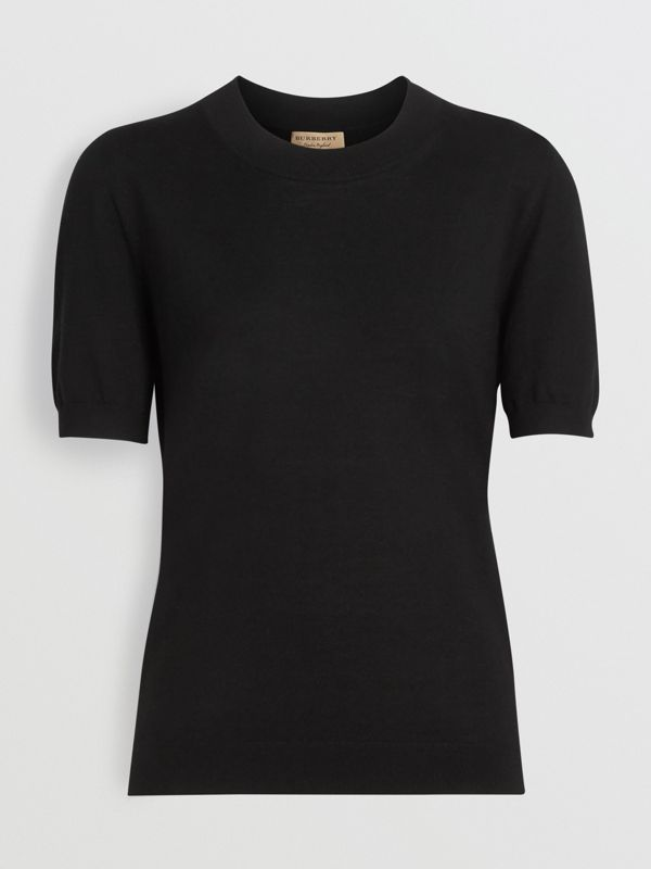 Crew Neck Merino Wool Sweater in Black - Women | Burberry - cell image 3