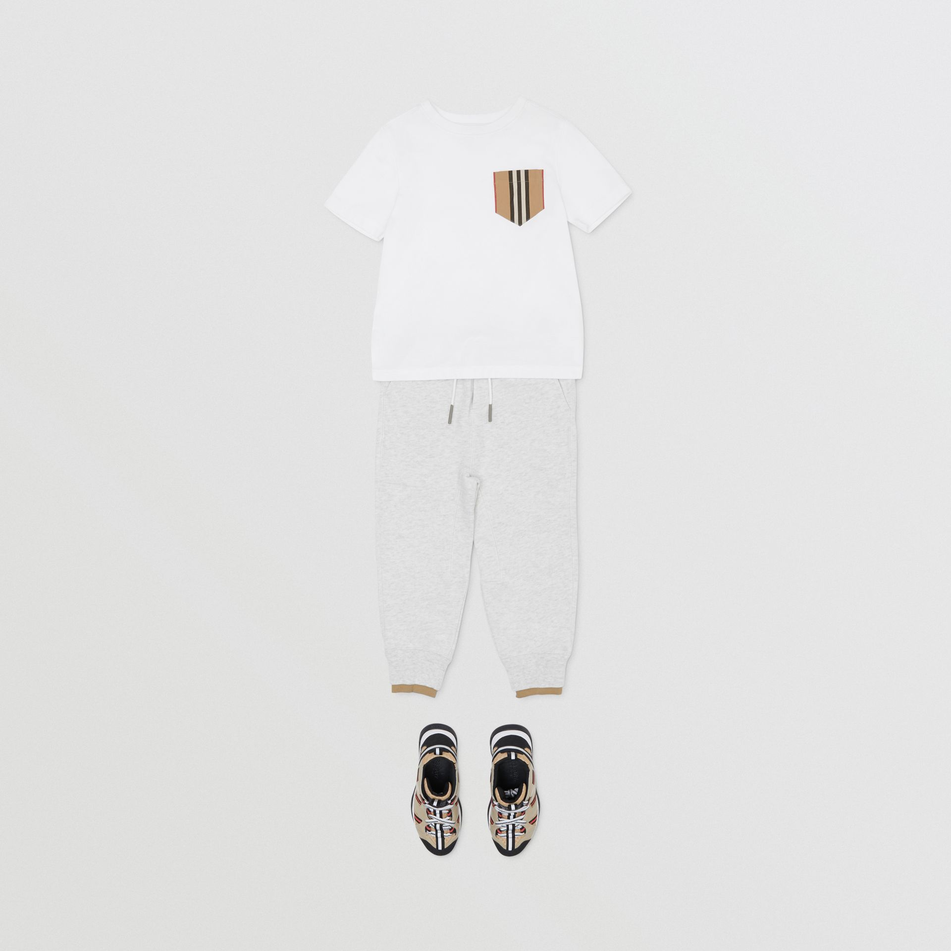 Logo Detail Cotton Trackpants in White Melange | Burberry - gallery image 3