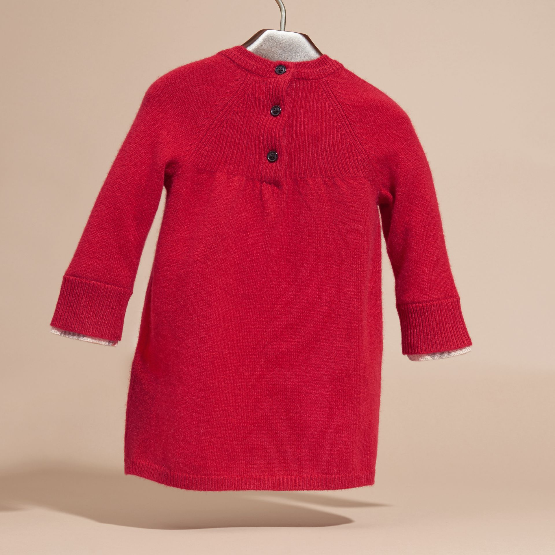 Parade red Check Cuff Knitted Cashmere Dress Parade Red - gallery image 4