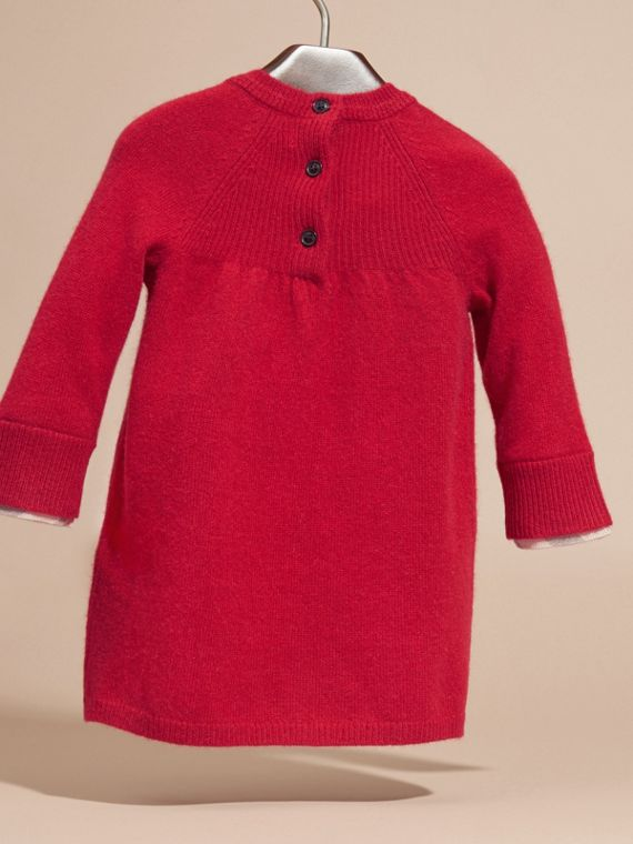 Check Cuff Knitted Cashmere Dress - cell image 3