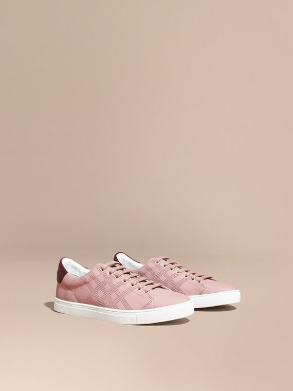 Perforated Check Leather Trainers in Rose Pink/deep Claret Melange