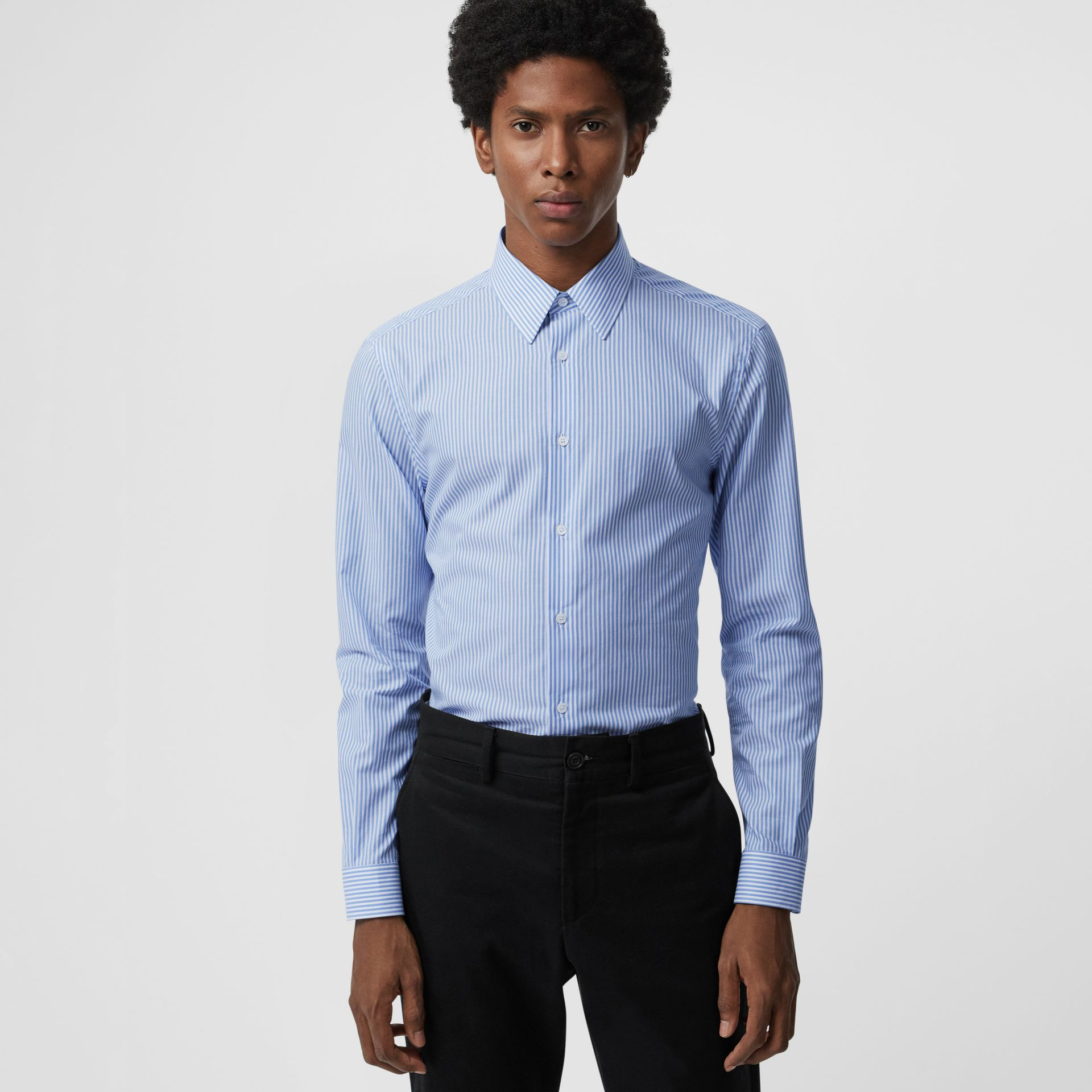 Slim Fit Striped Cotton Shirt in Mid Blue Stripe - Men | Burberry - gallery image 0