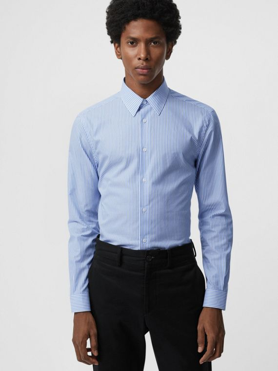Slim Fit Striped Cotton Shirt in Mid Blue Stripe