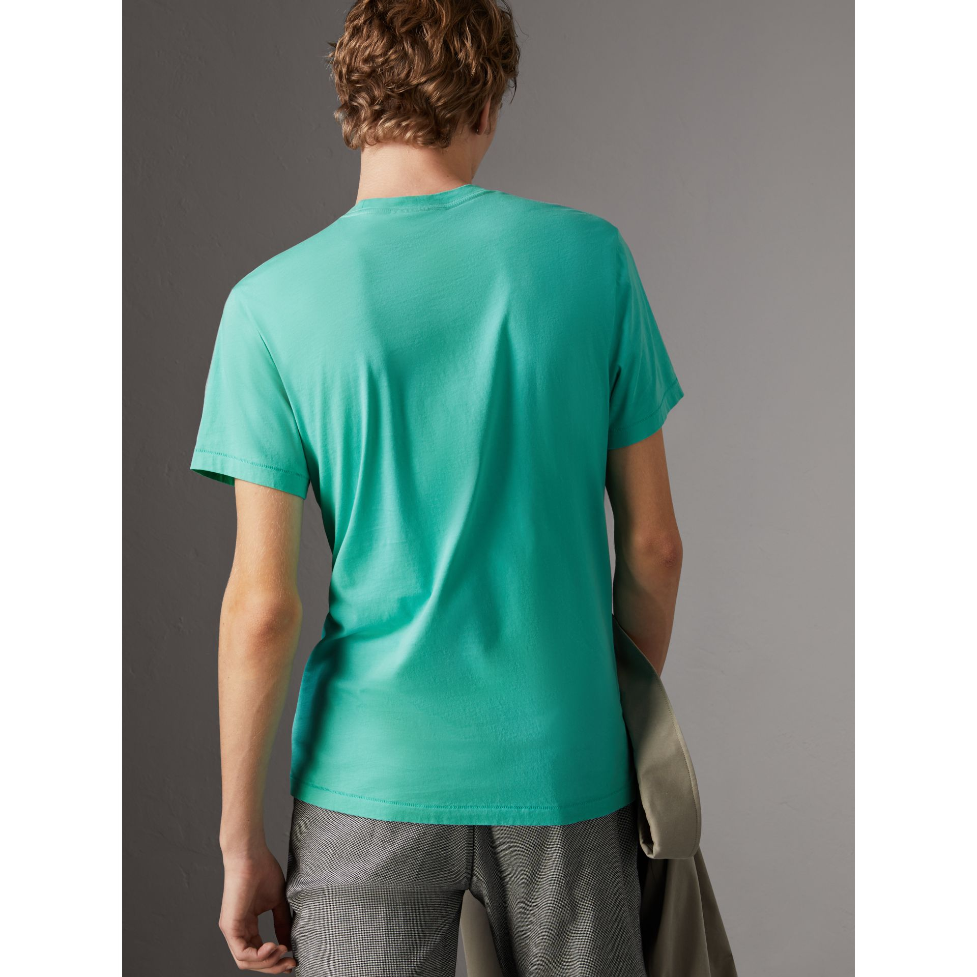 Cotton Jersey T-shirt in Turquoise - Men | Burberry United Kingdom - gallery image 2